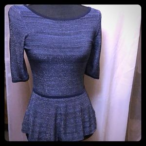 Sparkly Blue Peplum Top